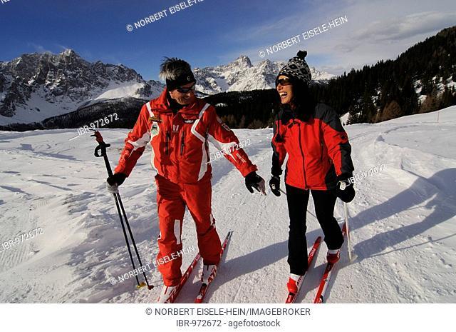 Nordic or cross-country skiers on the Alpe Nemes Alps, High Puster Valley or High Puster Valley or Alto Pusteria, Bolzano-Bozen, Italy, Europe
