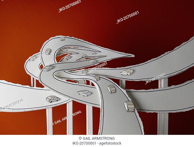 Complex intersecting elevated roads converging in arrow