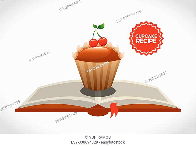 cupcake recipe book design, vector illustration eps10 graphic