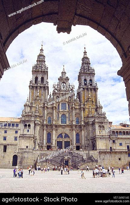 Obradoiro Square. Santiago de Compostela, La Coruña province, Galicia, Spain