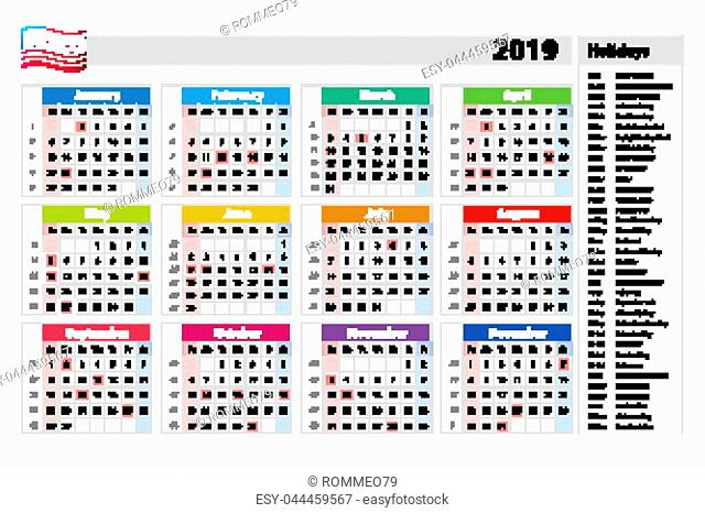 vector public holidays for the USA Calendar 2019. Colorful set. Week starts on Sunday. Basic grid art