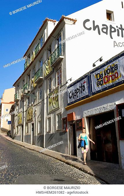 Portugal, Lisbon, Alfama-Castelo District, Rua Costa do Castelo 7, outside Chapito bar restaurant, cultural centre and circus school