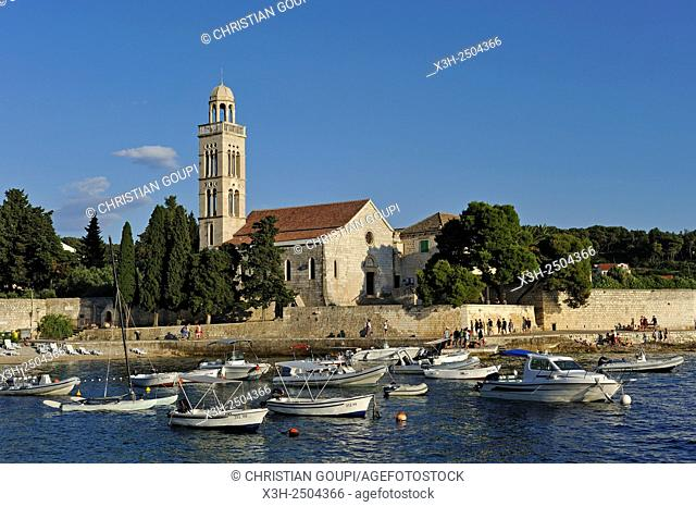 small boats at anchor in front of Franciscan monastery and church of Our Lady of Grace, Hvar city, Hvar island, Croatia, Southeast Europe