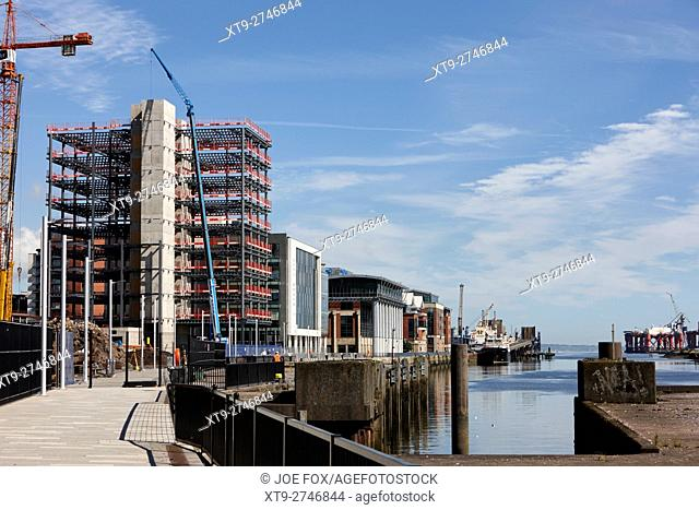 new city quays 2 office building with lift shaft and staircase being built Belfast Northern Ireland UK
