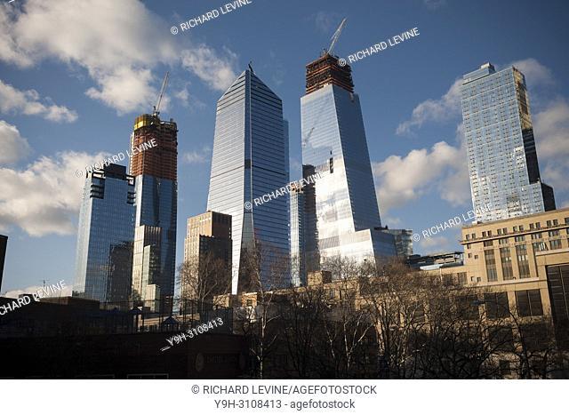 10 Hudson Yards, center left, 30 Hudson Yards, center right, and other Hudson Yards development in New York on Friday, March 16, 2018
