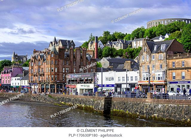 Restaurants and shops along the waterfront at Oban, Argyll and Bute, Scotland, UK