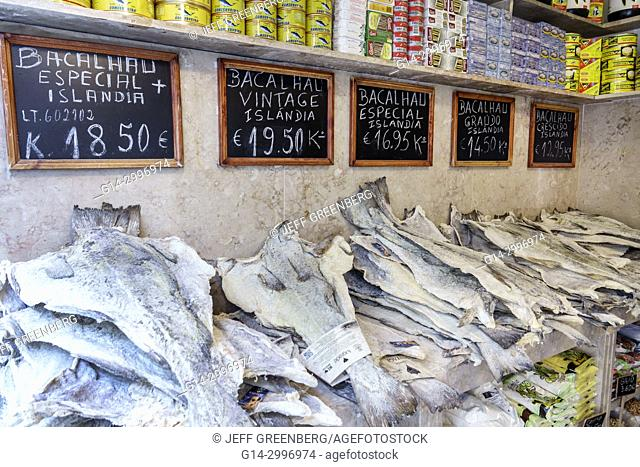 Portugal, Lisbon, Rossio, historic center, Mercado da Figueira, market, groceries, shopping, bacalhau, salted cod, fish, price, Euro, imported