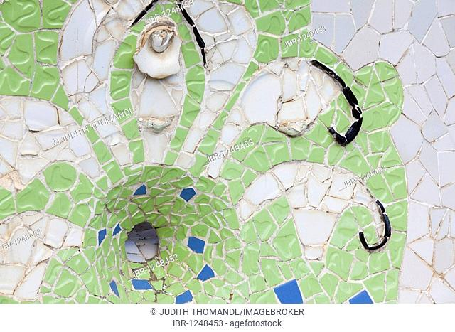 Mosaic in Parc Guell, Barcelona, Catalonia, Spain, Europe