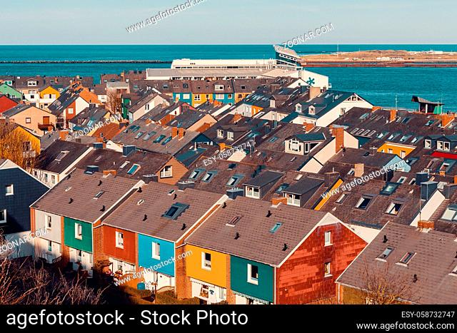 roofs of Residential area in Heligoland. Top view of traditional colorful holiday houses. Island Helgoland, Germany