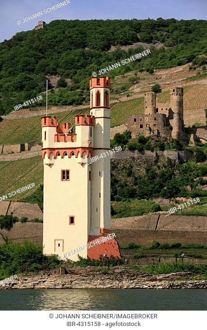 Mouse Tower, Mäuseturm, Ehrenfels Castle behind, Bingen am Rhein, Rhineland-Palatinate, Germany