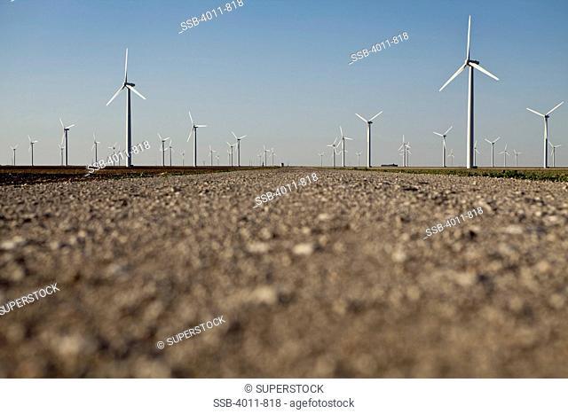 Wind turbines on a hill, Roscoe, Nolan County, Texas, USA
