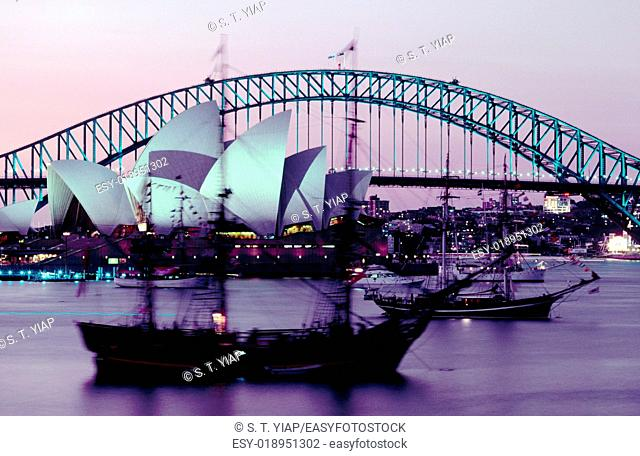 Sydney harbour with sail boats. New South Wales. Australia