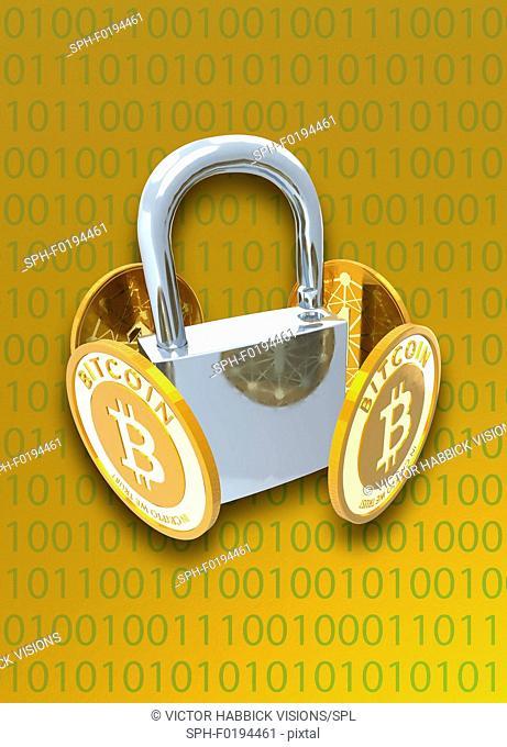 Bitcoins and padlock, illustration