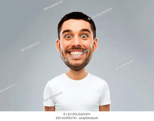 expression and people concept - smiling man with funny face over gray background (cartoon style character with big head)
