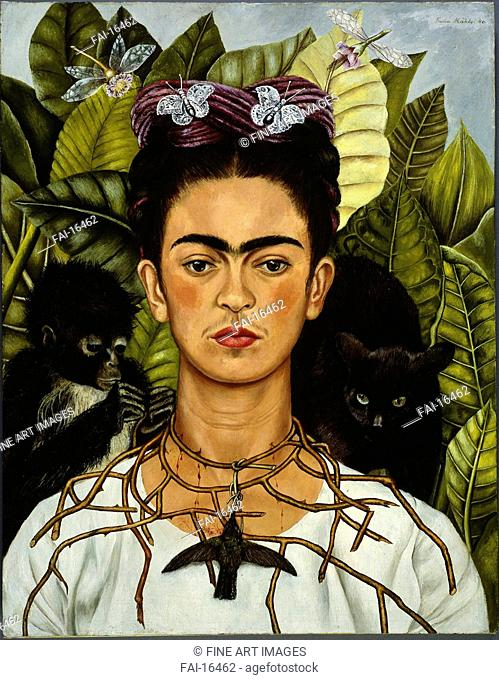 Self-Portrait with Thorn Necklace and Hummingbird. Kahlo, Frida (1907-1954). Oil on canvas. Surrealism. 1940. Harry Ransom Center, Texas. 62,6x47,9