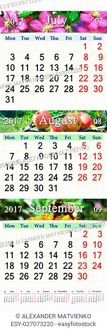 calendar for three months July August and September 2017 with images of clematis apples and bumblebee on the flower