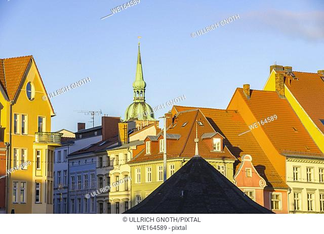 View over the roofs of historic houses of the Hanseatic City of Stralsund, Mecklenburg-Pomerania, Germany