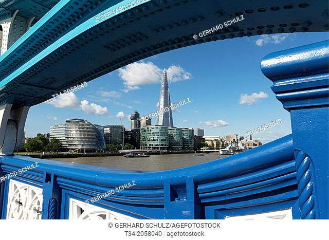 View trough Tower Bridge to City Hall and The Shard at River Thames London, United Kingdom