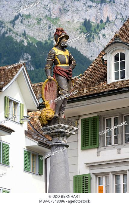 Main square with fountain figure, Schwyz, canton Schwyz, Switzerland
