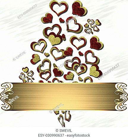 The template for the inscription. White background with red-gold hearts and gold name plate for writing
