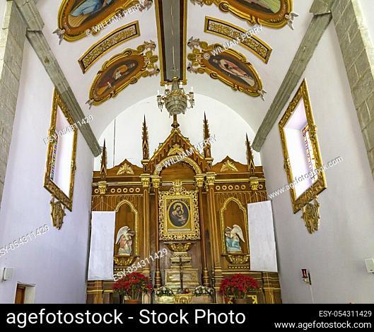 Ceiling Altar Capilla de Belem Belen Church Oaxaca Mexico. Belem Chapel built long ago