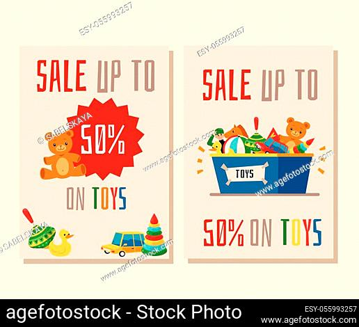Set of two banners or flyers for the sale of toys. Template for a toy store for children and games at a discount. Flat cartoon vector illustration for sale of...