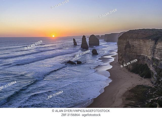 The setting Sun at the Twelve Apostles sea stacks and cliffs on the Great Ocean Road, on April 12, 2017. . . This is an HDR stack of 7 exposures from long to...