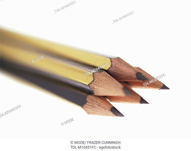 A bundle of pencils, close-up