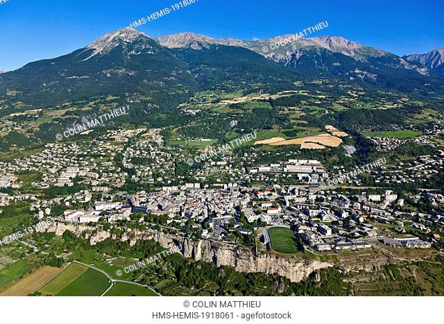 France, Hautes Alpes, Embrun, head of Partridge sings 2719 m (aerial view)