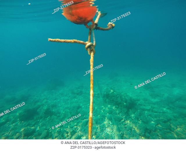 Orange buoy Underwater image of Adriatic sea in Croatia