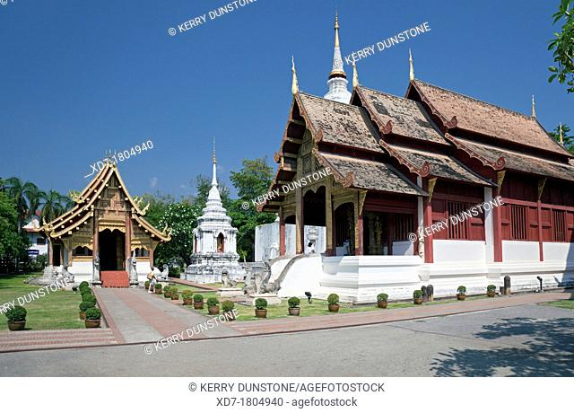'Wihan Lai Kham' and The Ubosot or Ordination Hall, Wat Phra Singh, Chiang Mai, Thailand