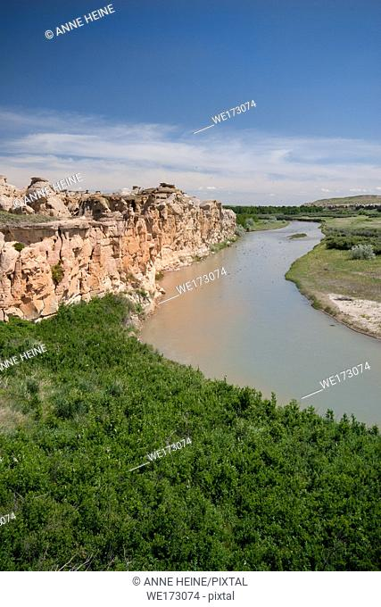 Badlands in Writing on stone Provincial Park, shaped by Milk River, Alberta, Canada