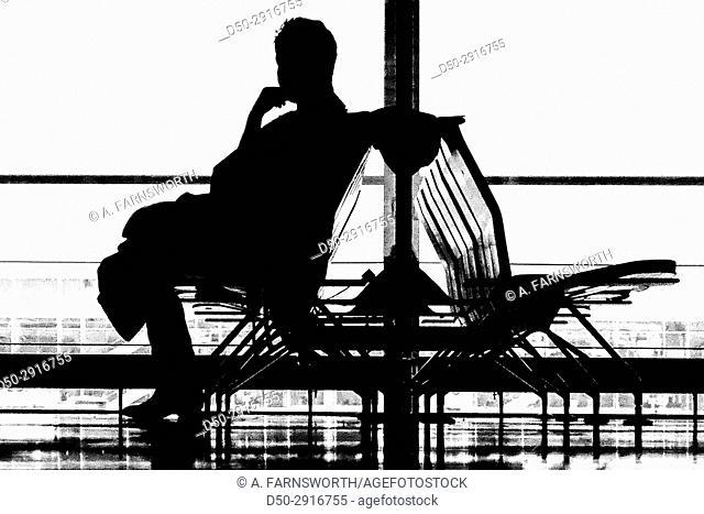 FRANKFURT GERMANY Airport Silhouette of traveler