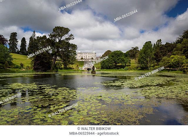 Ireland, County Wicklow, Enniskerry, Powerscourt Estate, Powerscourt House from Triton Lake