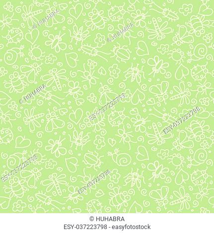 Many insects on a green background