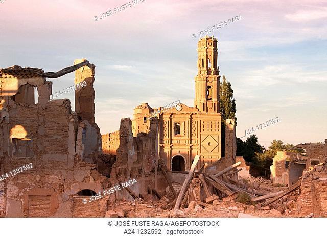 Spain, Aragon region,Ruins of Belchite city