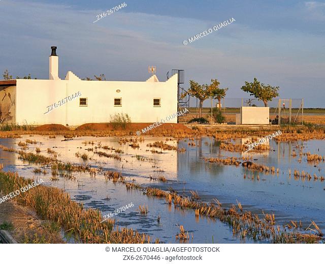 Small farm house beside autumn harvested and flooded rice fields. Ebro River Delta Natural Park, Tarragona province, Catalonia, Spain