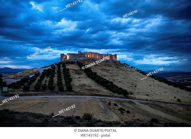 Jadraque Castle is built on a pleateau on top of a high, steep hill. Jadraque, Guadalajara, Spain