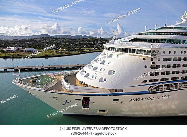 Royal Caribbean International cruise entering the Port of St John, Caribbean island