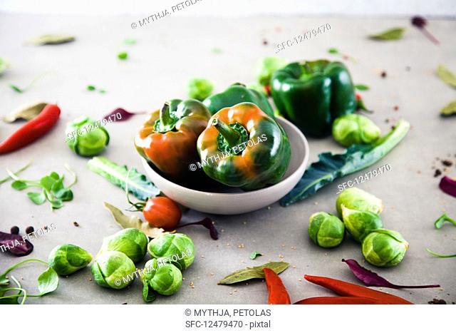 Fresh vegetables flatlay overhead frame