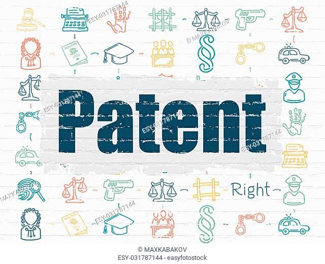 Law concept: Painted blue text Patent on White Brick wall background with Scheme Of Hand Drawn Law Icons