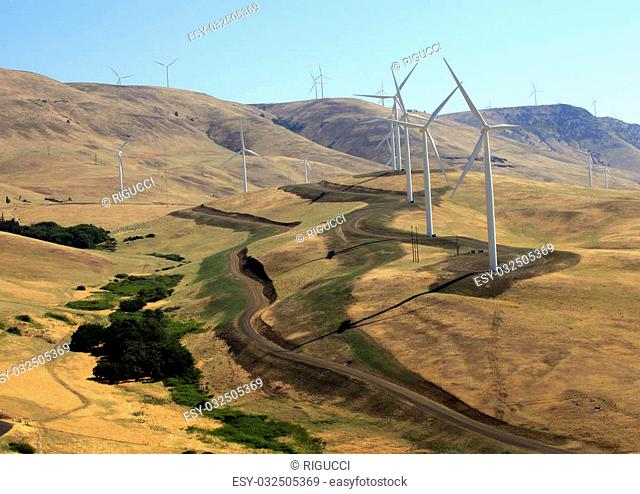 Wind energy. Wind turbines along the Washington & Oregon state near Maryhill museum of art in the Columbia River Gorge