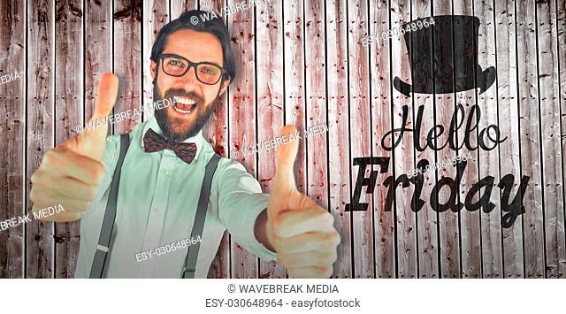Composite image of tilt iamge of cheerful man showing thumbs