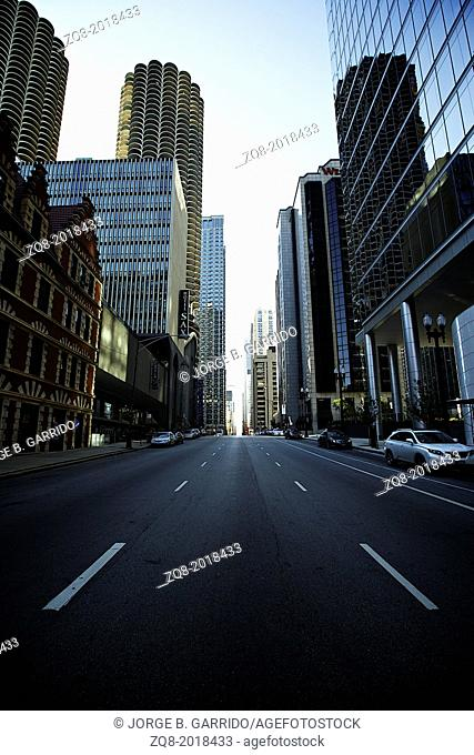 Street of Chicago. Image of street in Chicago downtown