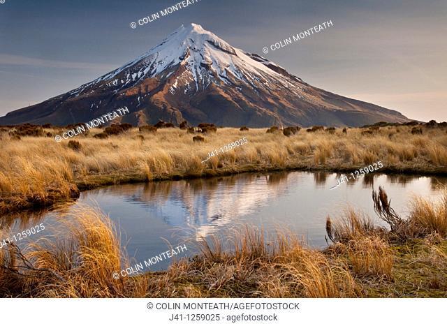 Mt Egmont / Taranaki, late afternoon reflection in small tarn set among tussock slopes of Pouakai range, Taranaki
