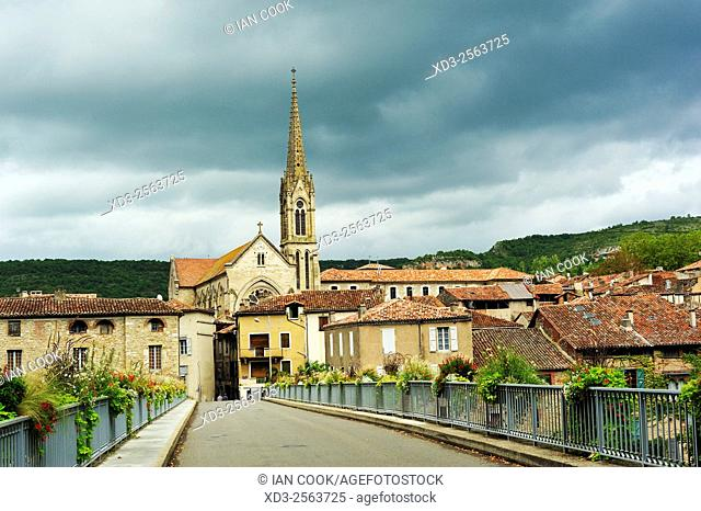 Saint-Antonin-Noble-Val with Parish Church of Notre Dame, Tarn-et-Garonne Department, Midi-Pyrenees, France