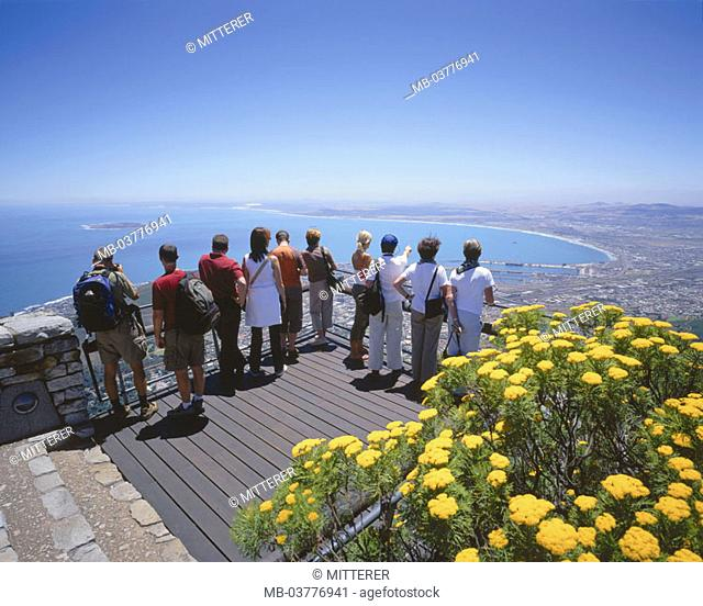 South Africa, mesa, overlook,  Tourists, view from behind, Cape town,  view over the city Africa, westerns Cape province West-Kap Cape Town mountain destination