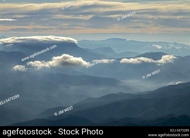 Oaxaca, Mexico - An aerial view of mountains in the southern part of Oaxaca state, near the Pacific Ocean