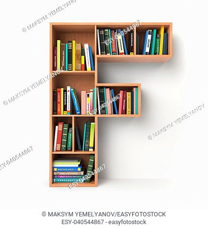 Letter F. Alphabet in the form of shelves with books isolated on white. 3d illustration