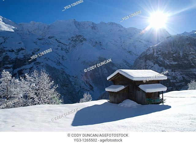 Hillside cabin in snow, Gimmelwald, Bernese Oberland, Switzerland